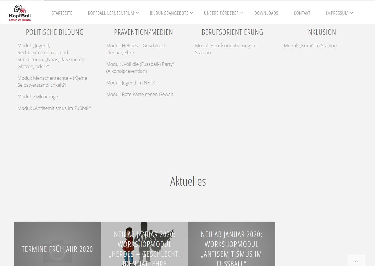 Neue Homepage fürs KopfBall Lernzentrum